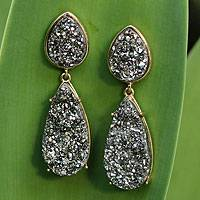 Brazilian drusy agate dangle earrings, 'Titanium Glam' - Brazilian Drusy Gold Plated Dangle Earrings