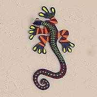 Resin wall art, 'Lively Lizard' - Wood and Resin Lizard Wall Art from Mexico