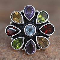 Amethyst and garnet flower ring, 'Floral Glamour' - Natural Gemstone Flower Ring in Sterling Silver from India