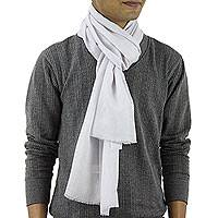Men's wool and silk blend scarf, 'Kashmir Silver' - Wool and Silk Men's Scarf Muffler from India