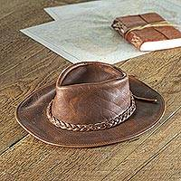 Men's leather hat, 'Rancher's Choice' - Men's Full Grain Brown Leather Rancher Hat