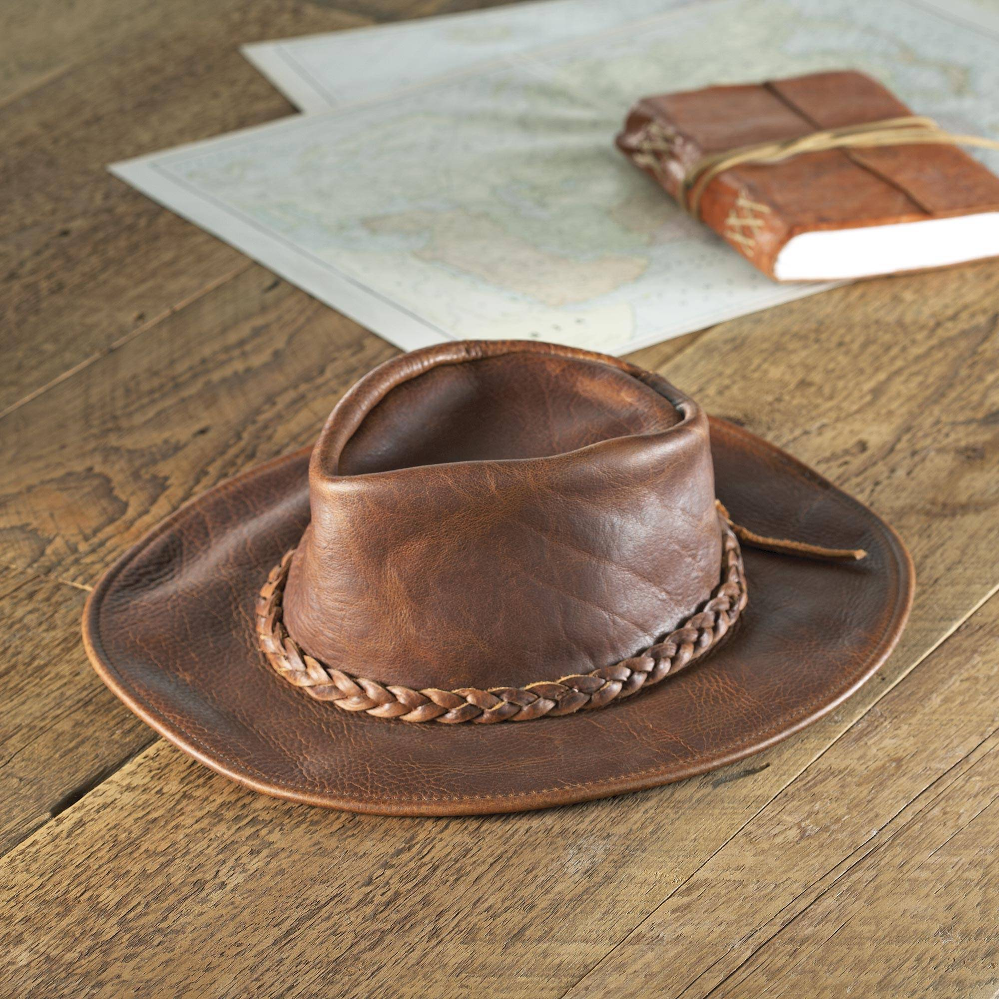 Men s Full Grain Brown Leather Rancher Hat - Rancher s Choice  e6377dfe91d