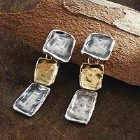 Gold accented sterling silver dangle earrings, 'Cobblestone Trio' - Modern 14k Gold Accented Sterling Silver Earrings