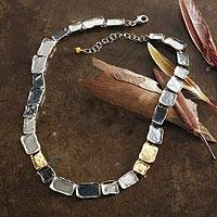 Gold accented sterling silver link necklace, 'Cobblestone Trio' - Gold Accented Sterling Silver Link Necklace