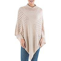 Knit poncho, 'Beige Reality Squared' - Beige Poncho with Turtleneck from Peru