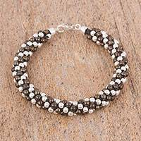Sterling silver beaded bracelet, 'Dark Dots' (6.75 inch) - Dark Sterling Silver Beaded Bracelet (6.75 inch)