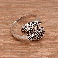 Sterling silver wrap ring, 'Two Shadows' - Sterling Silver Engraved Floral Leaf Wrap Ring of Indonesia