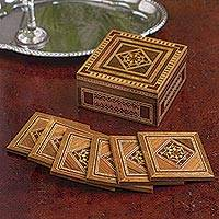 Inlaid wood coaster set, 'Lebanese Nights' (set of 6) - Marquetry Coaster Set with Storage Box (Set of 6)