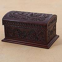Leather and wood chest, 'Classic Inspiration' - Embossed Leather Leaves on Mohena Wood Treasure Chest Box