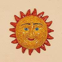 Ceramic and glass mosaic wall art, 'Sunny Cheer' - Handcrafted Smiling Sun Glass Mosaic on Ceramic Wall Art