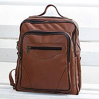 Leather backpack, 'Wild Journey' - Handcrafted Leather Backpack in Burnt Orange from Brazil