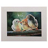 'Three Chicks' - Signed Watercolor Painting of Three Chicks from Java
