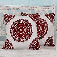 Cotton cushion covers, 'Ruby Mandalas' - Embroidered Red on White Cushion Covers from India (Pair)