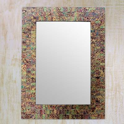 Glass mosaic wall mirror, 'Happiness' - Multicolor Glass Mosaic Artisan Made Wall Mirror