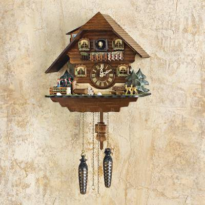 Large wood cuckoo clock, 'Black Forest Dancers' - Large Wood Black Forest Dancers Cuckoo Clock