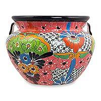 Ceramic flower pot, 'Guanajuato Garden' (14 inch) - Handcrafted Talavera Style 14 Inch Ceramic Flower Pot