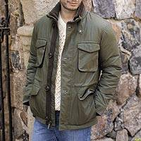 Men's faux shearling collar jacket, 'Grand Mesa' - Men's M-65 Faux Shearling Collar Jacket in Olive