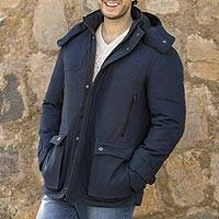Men's twill Thermoluxe jacket, 'Frontier' - Men's Navy Twill Thermoluxe Travel Jacket