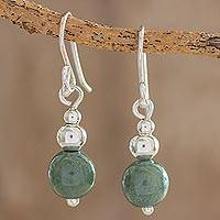 Jade dangle earrings, 'Verdant Grace' - Jade and Sterling Silver Dangle Earrings from Guatemala