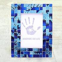 Mosaic glass photo frame, 'Silver Beach' (4x6) - Blue and Aqua Glass Mosaic Photo Frame (4x6)