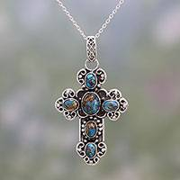 Sterling silver pendant necklace, 'Faith Loops' - Sterling Silver and Composite Turquoise Cross Necklace