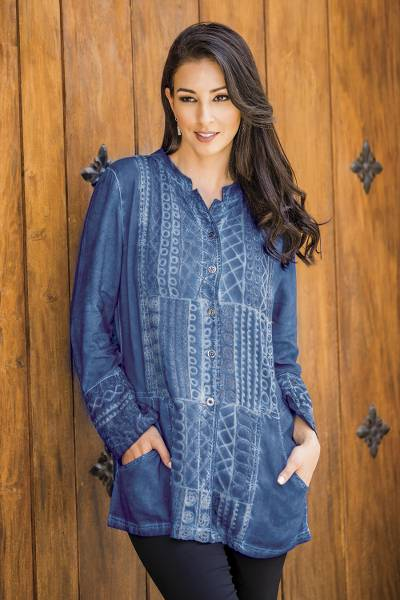 Embroidered rayon tunic, 'Blue Streak' - Embroidered Blue Button Front Rayon Tunic from India