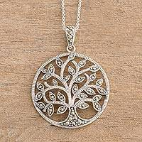 Marcasite pendant necklace, 'Irish Tree of Life' - Irish Tree of Life Necklace with Marcasite