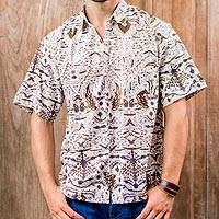 Men's cotton batik shirt, 'Continuous Love' - Men's Brown & White Short Sleeve Cotton Batik Button Shirt