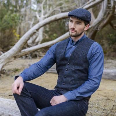 Men's wool cap, 'Trinity' - Men's 100% Wool Cap from Killarney Ireland