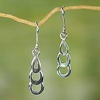 Sterling silver dangle earrings, 'Curvaceous Cascade' - Ghana Handcrafted Sterling Silver Earrings