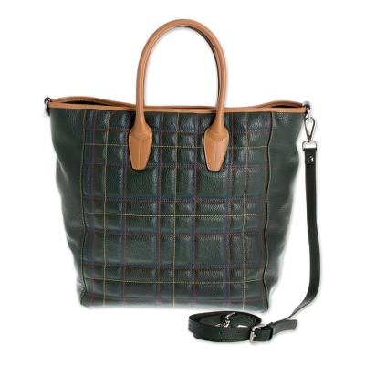 Green Tartan Tuscan Genuine Leather Travel Bag Italian Highlands