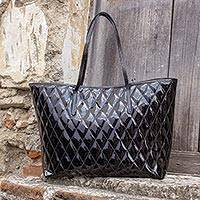 Quilted patent leather tote bag, 'Via del Corso' - Quilted Black Patent Leather Tote Bag