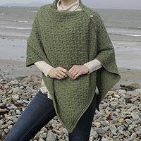 Wool convertible cape, 'Aran Islands' - Merino Wool Trellis-Stitch Convertible Cape from Ireland
