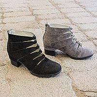 Nubuck ankle boot, 'Parallels' - Stylish Black Nubuck Jambu Ankle Boot