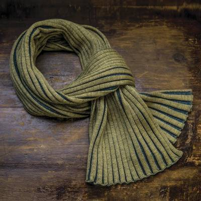 f0c51a05140d1 Accordion Knit 100% Wool Scarf from Ireland - Meridian | NOVICA