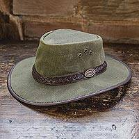 Men's waxed cotton hat, 'Blyde River' - Men's Waxed Cotton Tin Cloth Hat in Olive
