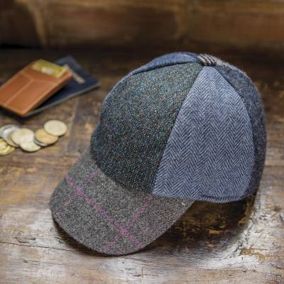 6c97363b4c8 Men s Wool Tweed Patchwork Baseball Cap from Ireland - Grafton ...