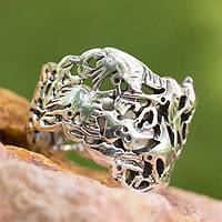 Silver band ring, 'Hummingbird Mystique' - Hand Made Taxco Fine Silver Bird Ring