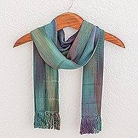 Rayon scarf, 'Smooth Breeze' - Handwoven 100% Rayon Wrap Scarf from Guatemala