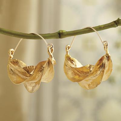 af7a81f42d391 24k Gold Plated Brass Hoop Earrings, 'Fulani Pride'
