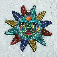 Ceramic wall art, 'Teal Sun' - Multicolored Sun Ceramic Wall Art from Mexico