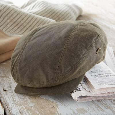 Men's waxed cotton cap, 'Kerry' - Olive Green Irish Waxed Cotton Quilt Lined Cap