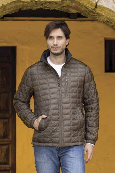 Men's quilted reversible jacket, 'Field and Forest' - Quilted Reversible Travel Jacket for Men