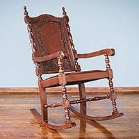 Mohena wood and leather rocking chair, 'Inca Aristocrat' - Inca Leather Wood Rocking Chair