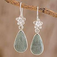 Jade dangle earrings, 'Enduring Bloom in Apple Green' - Sterling Silver Flower and Apple Green Jade Dangle Earrings
