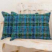Cotton pillowcases, 'Ancestral Paths' (pair) - 100% Cotton Pillowcases Daffodil Cerulean (Pair) Guatemala