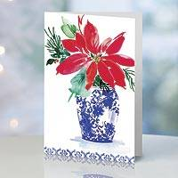 UNICEF holiday cards, 'Poinsettias the Christmas Star' (set of 12) - UNICEF Holiday Cards Boxed Set of 12