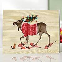 UNICEF holiday cards, 'The Moose Marches On...' (set of 12) - UNICEF Holiday Cards Boxed Set of 12
