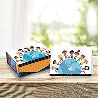 UNICEF everyday cards with keepsake box, 'Kids Around the World' (set of 18) - UNICEF Keepsake Box with 18 Everyday Notecards