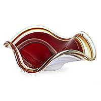 Handblown art glass centerpiece, 'Eloquence' - Unique Handblown Murano Inspired Glass Bowl Centerpiece